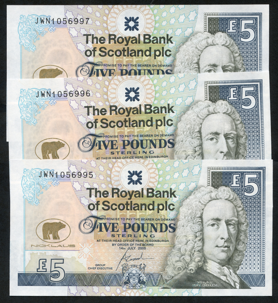 Royal Bank of Scotland 2005 Goodwin £5 Jack Nicklaus consecutive trio (JWN1056995/7), UNC