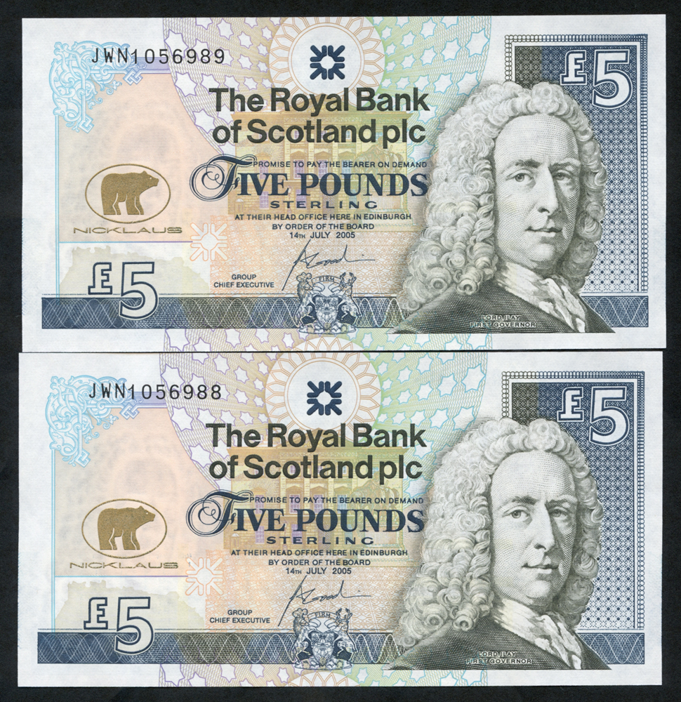 Royal Bank of Scotland 2005 Goodwin £5 Jack Nicklaus consecutive pair (JWN1056988/9), UNC