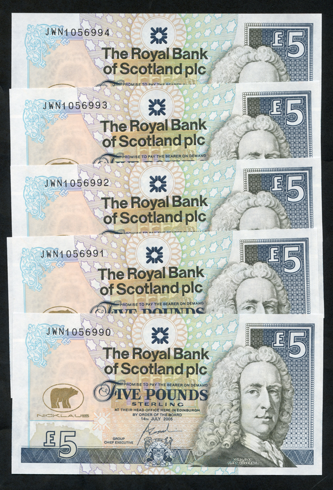 Royal Bank of Scotland 2005 Goodwin £5 Jack Nicklaus consecutive run of five (JWN1056990/4), UNC