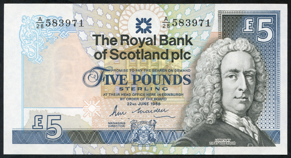 Royal Bank of Scotland 1988 Robert M. Maiden (A/28 583971), UNC