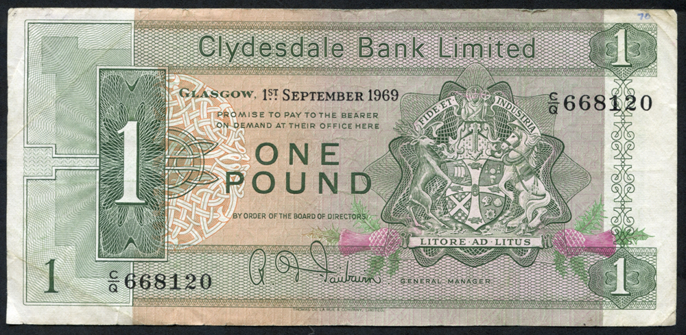 Clydesdale Bank Ltd 1969 R. D. Fairbairn £1 Clyde Shippping (C/Q 668120), Fine