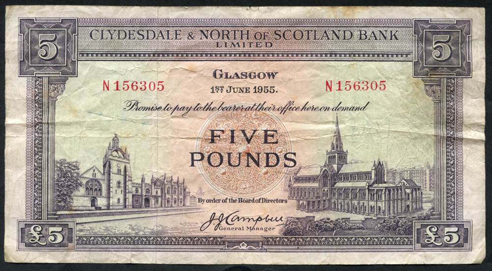Clydesdale & North of Scotland Bank 1955 (June 1st) J. J. Campbell £5 Glasgow Cathedral (N156305), F-VF
