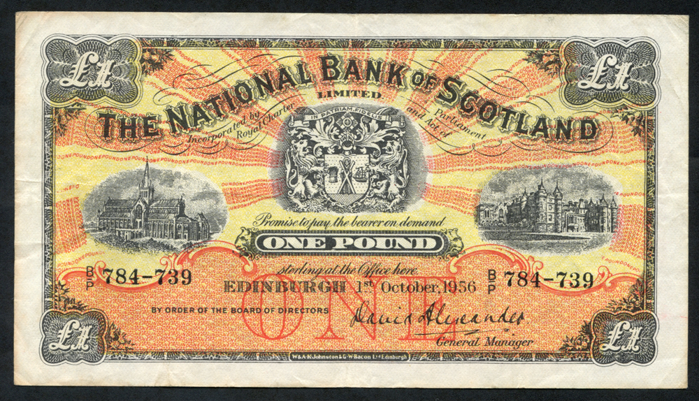 National Bank of Scotland 1956 (Oct) David Alexander £1 Glasgow Cathedral (B/P 784-739), VF+
