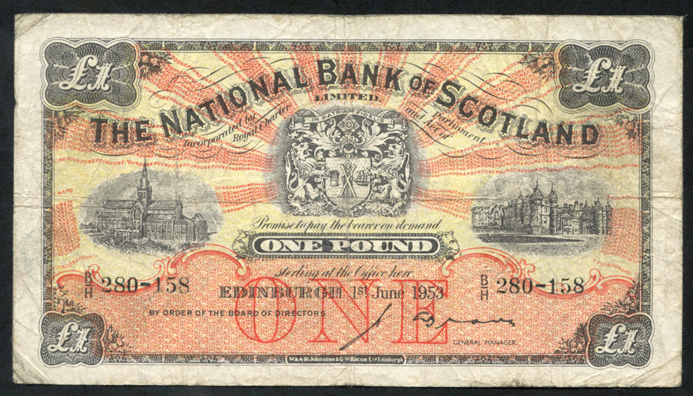National Bank of Scotland 1953 (Jun) J. A. Brown £1 Glasgow Cathedral (B/P 280-158), Fine