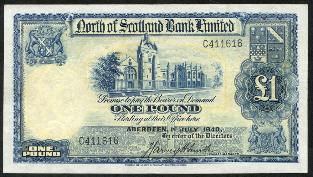 North of Scotland Bank Ltd 1940 (July) Harvey H. Smith £1 blue & yellow (C411616), EF+