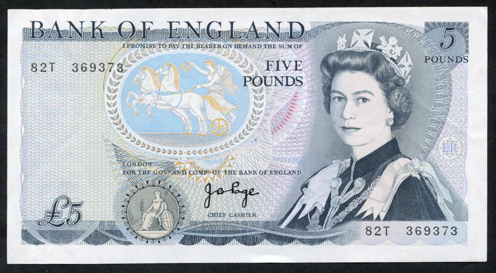 1973 Page £5 Wellington (82T 369373), A/UNC