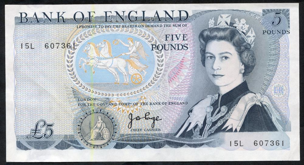 1973 Page £5 Wellington (15L 607361), A/UNC