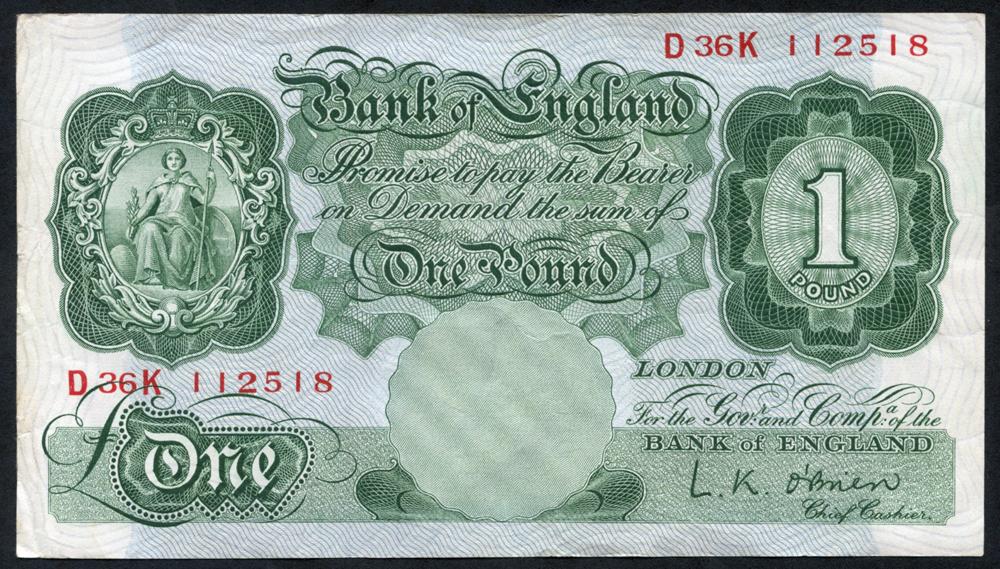 1955 Beale £1 green (D36K 112518), EF
