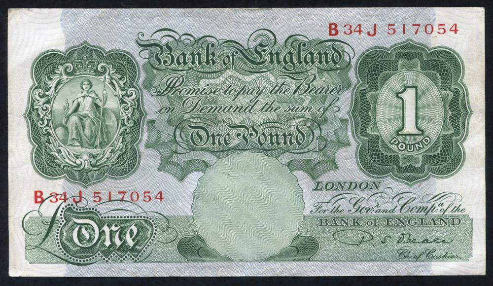 1950 Beale £1 green (B34J 517054), A/EF