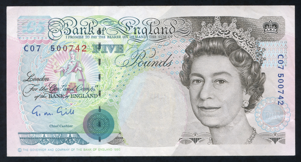 1990 Gill £5 Stephenson (C07 500742), A/UNC