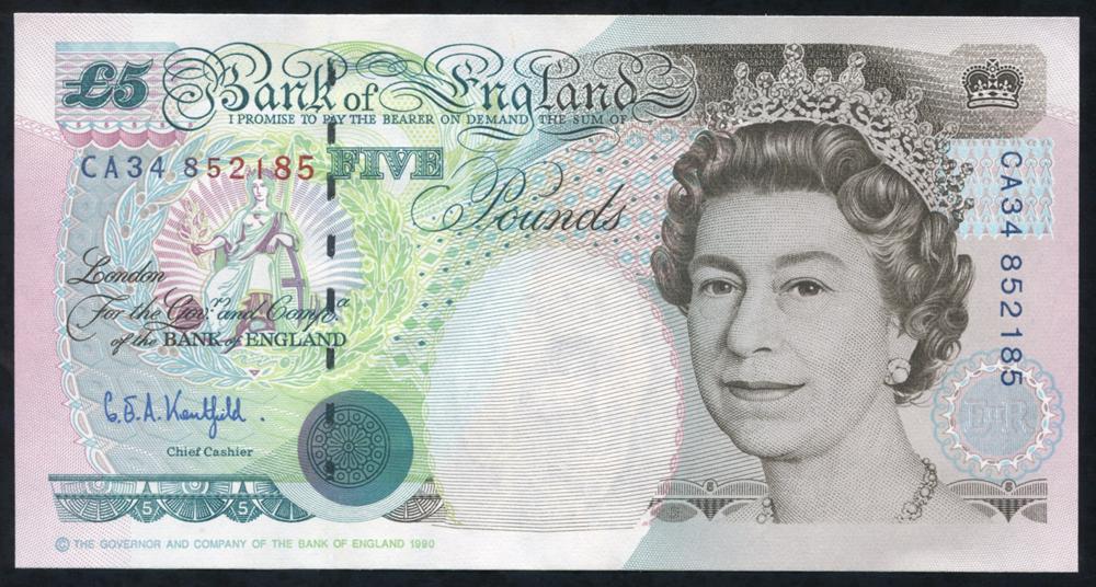 1993 Kentfield £5 Stephenson (CA34 852185), A/UNC