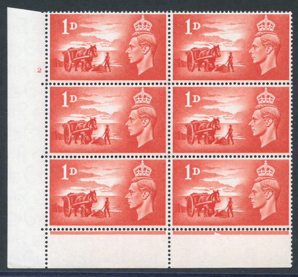 1948 Liberation 1d scarlet (SG.C1) Cylinder block of six, Perf type 6B, UM
