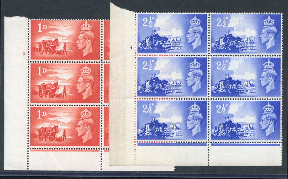 1948 Liberation set in Cylinder blocks of six, Perf type 6B, UM