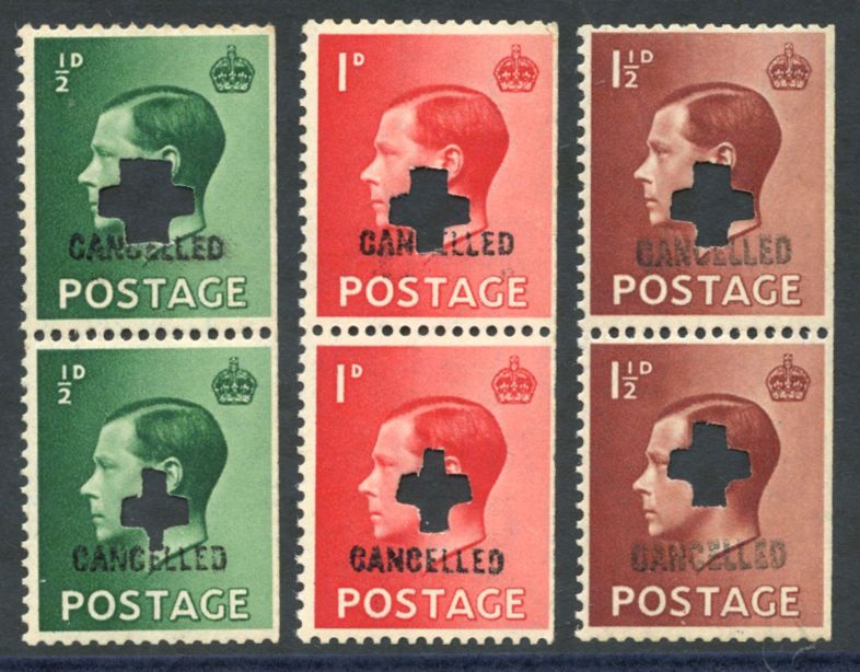 1936 ½d, 1d & 1½d vertical pairs, wmk inverted (ex. booklet), each punched & cancelled Type 33p