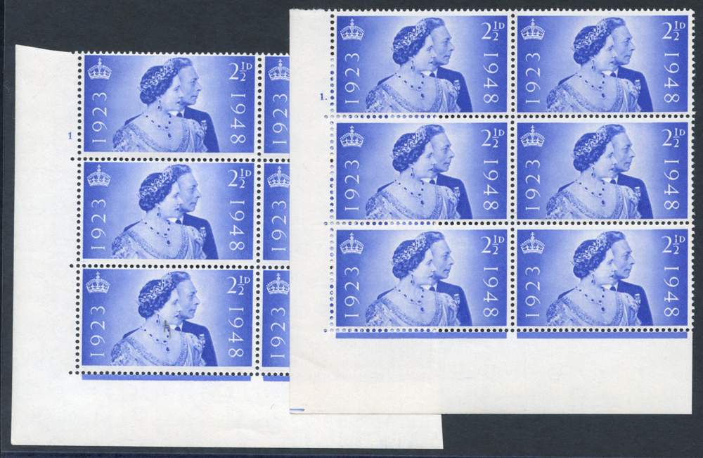 1948 Silver Wedding 2½d ultramarine UM Control blocks of six from Cyl. 1 & 1 dot