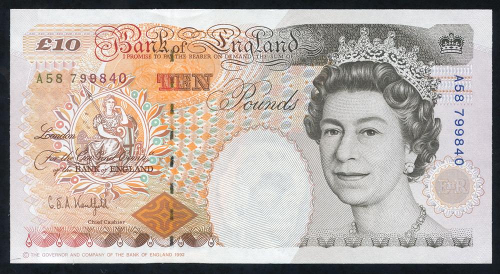 1992 Kentfield £10 Dickens (A58 799840), A/UNC
