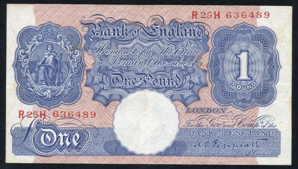 1940 Peppiatt £1 blue/pink (R25H 636489), Fine++
