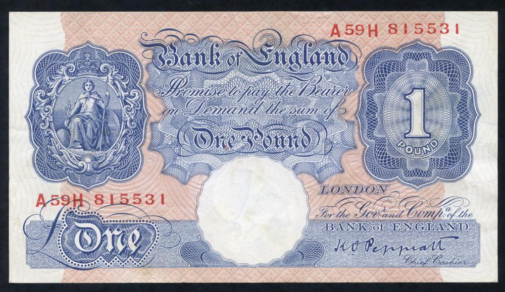 1940 Peppiatt £1 blue/pink (A59H 815531), EF+++