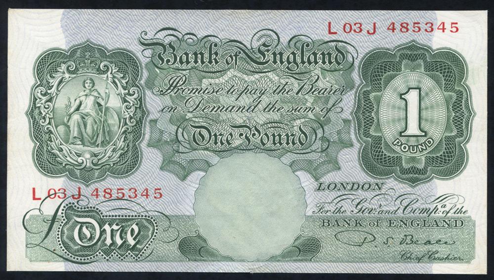1950 Beale £1 green (L03J 485345), EF++