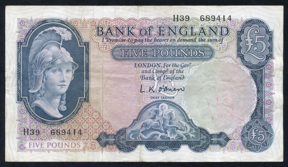 1961 O'Brien £5 Lion & Key (H39 689414) '115' on reverse in red biro o/w VF++