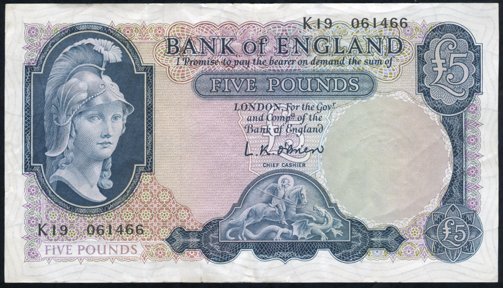 1961 O'Brien £5 Lion & Key (K19 061466), VF++