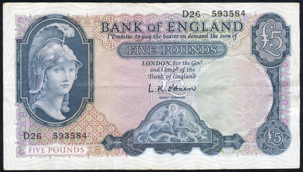 1957 O'Brien £5 Lion & Key (D26 593584), VF++