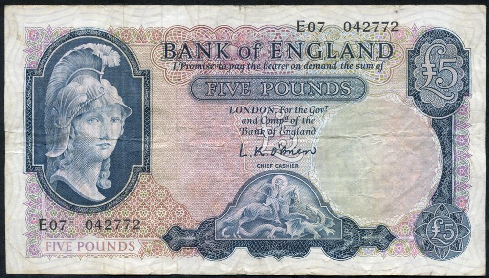 1957 O'Brien £5 Lion & Key (E07 042772), VF++