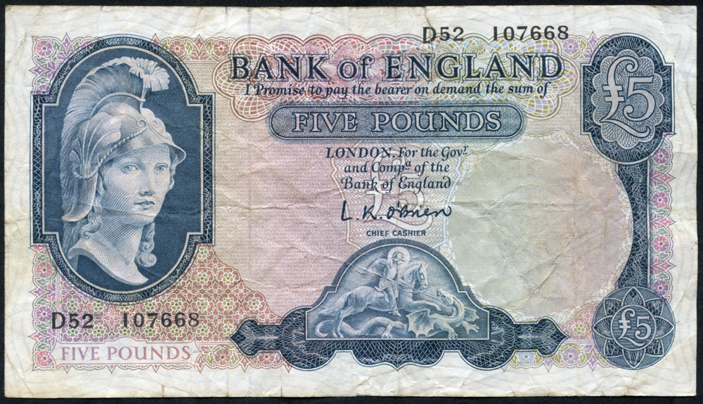 1957 O'Brien £5 Lion & Key (D52 107668), Fine+
