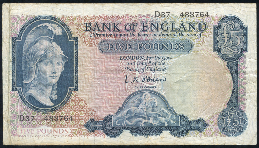 1957 O'Brien £5 Lion & Key (D37 488764,) Fine