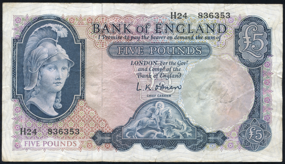 1961 O'Brien £5 Lion & Key (H24 836353), VF