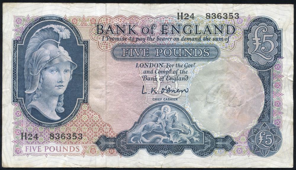 1961 O'Brien £5 Lion & Key (H24 836353), VF