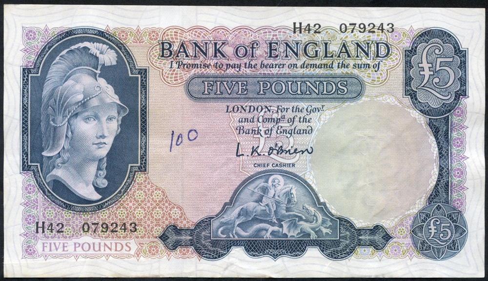 1961 O'Brien £5 Lion & Key (H42 079243),'100' written in biro on obverse o/w A/EF