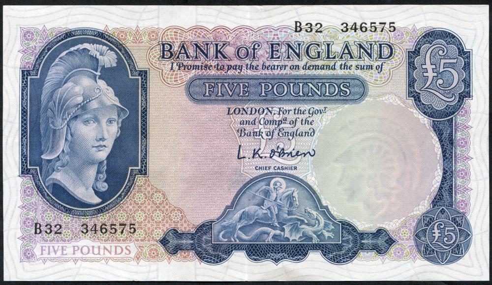 1957 O'Brien £5 Lion & Key (B32 346575), EF
