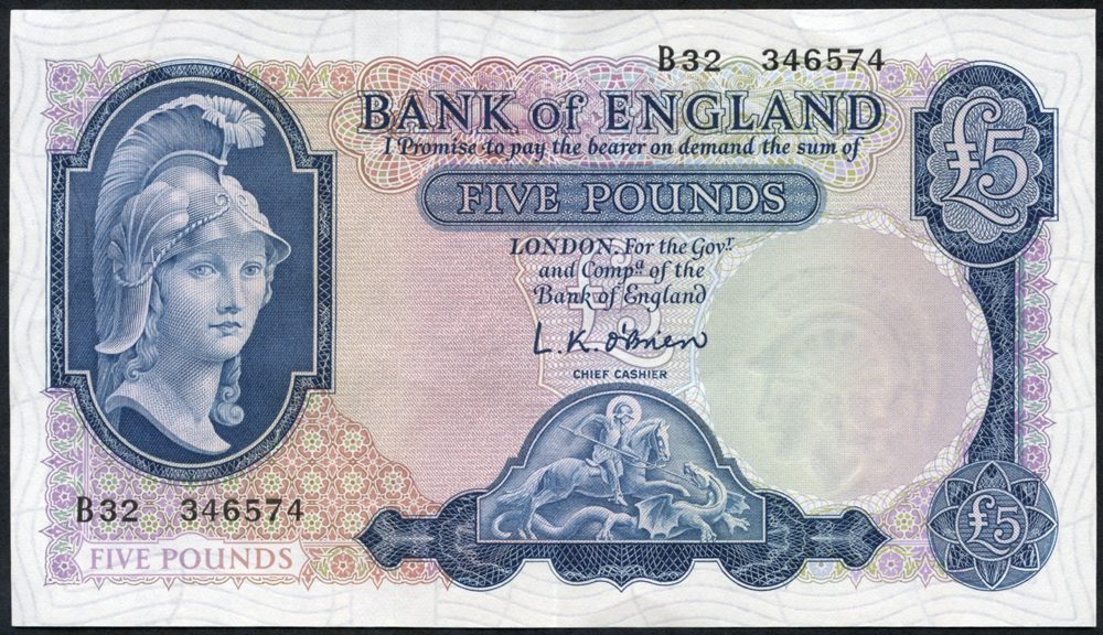 1957 O'Brien £5 Lion & Key (B32 346574), EF