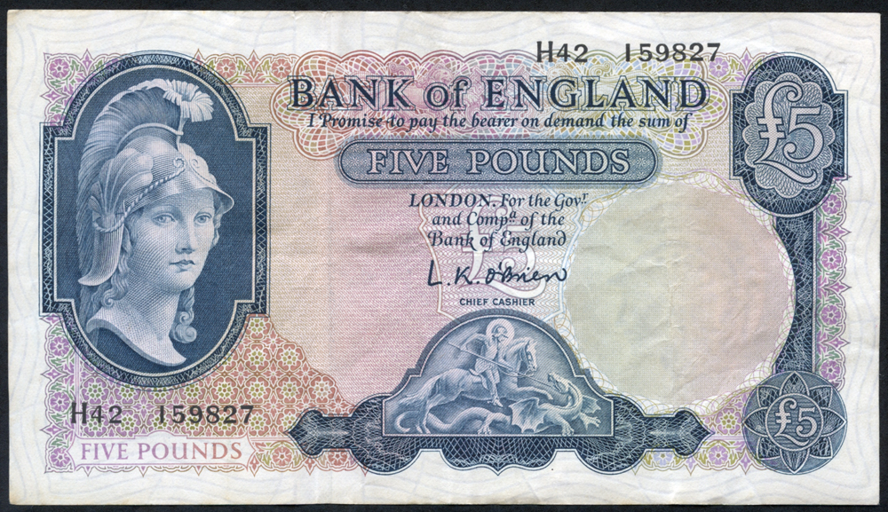 1961 O'Brien £5 Lion & Key (H42 159827), VF+++