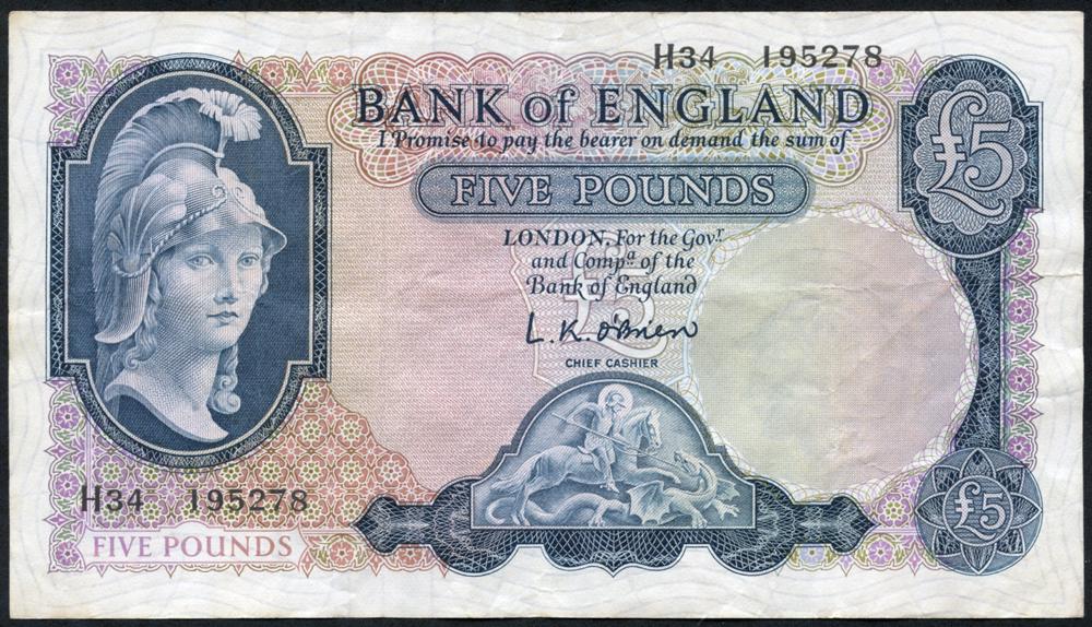 1961 O'Brien £5 Lion & Key (H34 195278), VF+