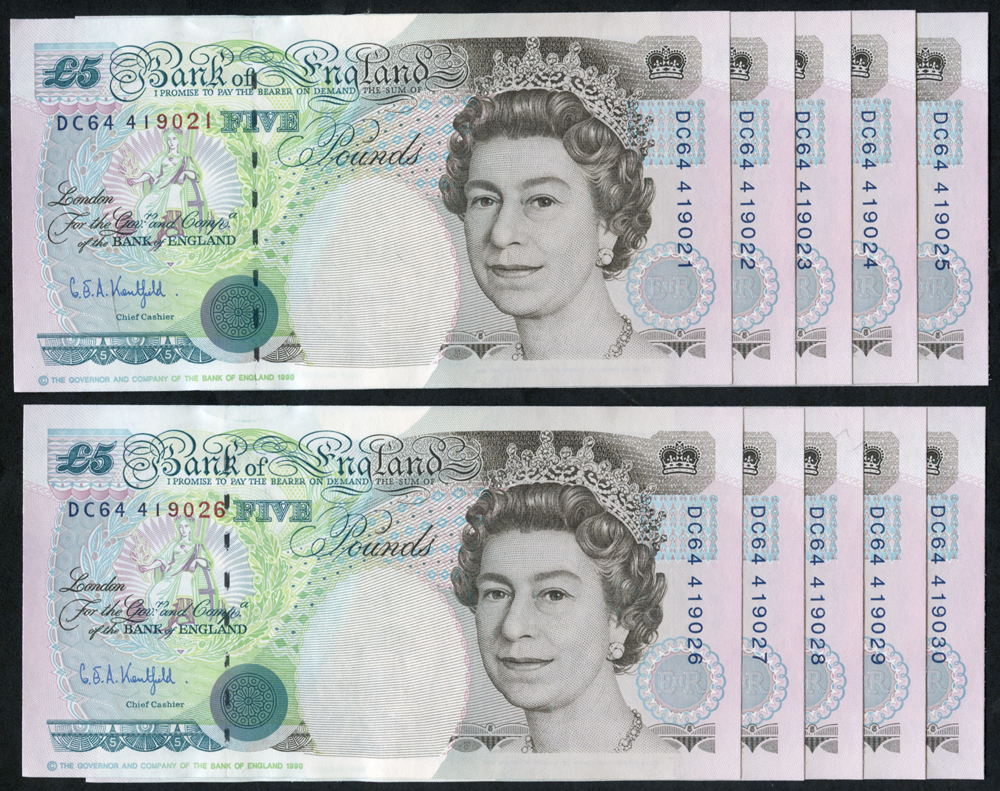 1993 Kentfield £5 Stephenson, consecutive run of ten numbers (DC64 419021/30), UNC