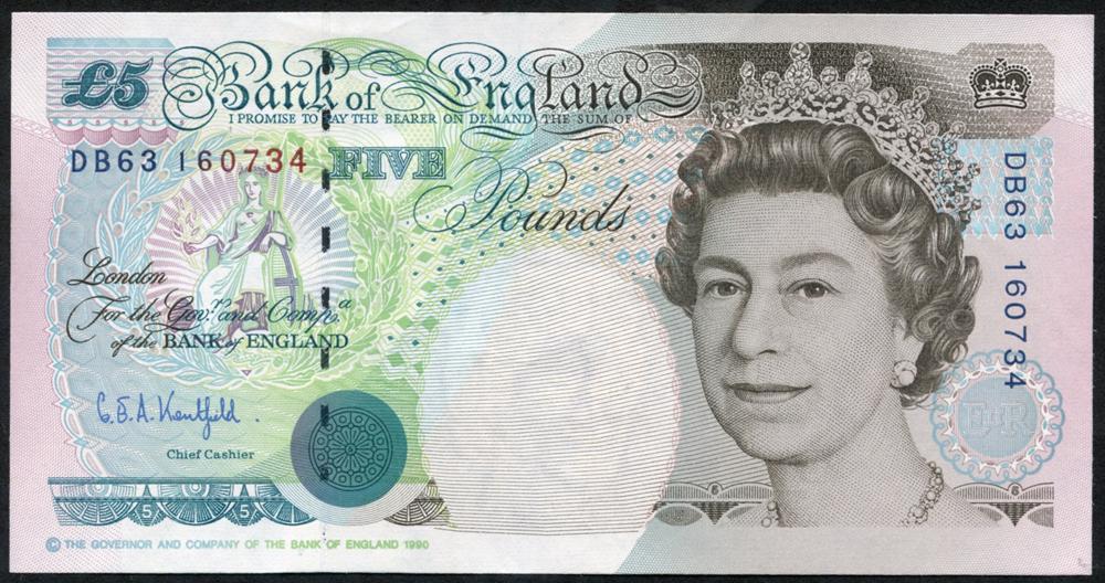 1993 Kentfield £5 Stephenson, (DB63 160734), UNC