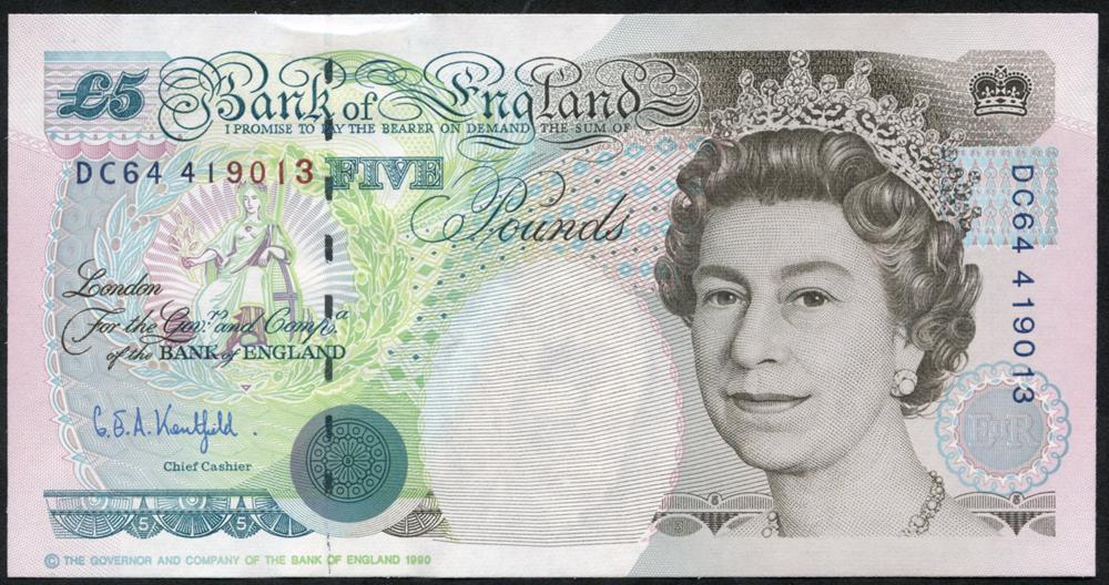 1993 Kentfield £5 Stephenson, (DC64 419013), UNC