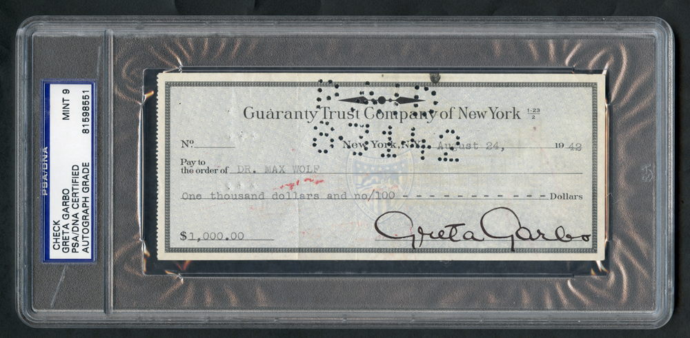 GARBO, GRETA 1905/1990 (Swedish/American Film Actress) Bank cheque from boldly signed 'Greta Garbo' in fountain pen. Slabbed by PSA as genuine. RARE.