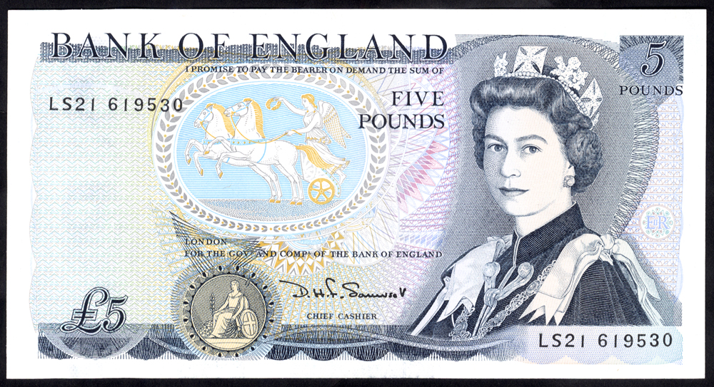 1990 Somerset £5 Wellington (LS21 619530), UNC