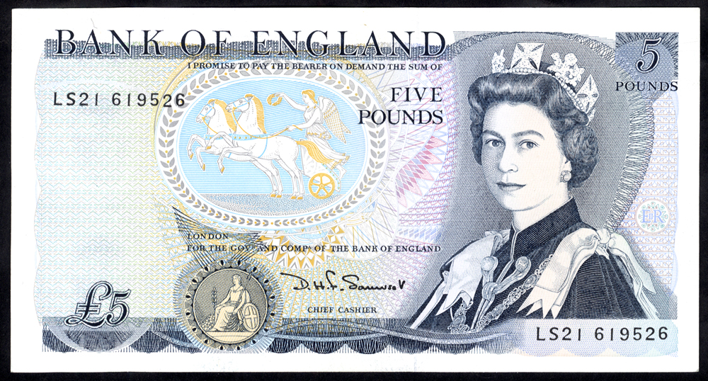 1990 Somerset £5 Wellington (LS21 619526), UNC