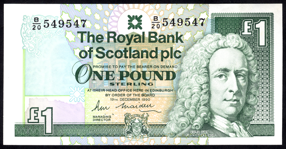 Royal Bank of Scotland 1990 R. M. Maiden £1 Lord Ilay (B/20 549547), UNC