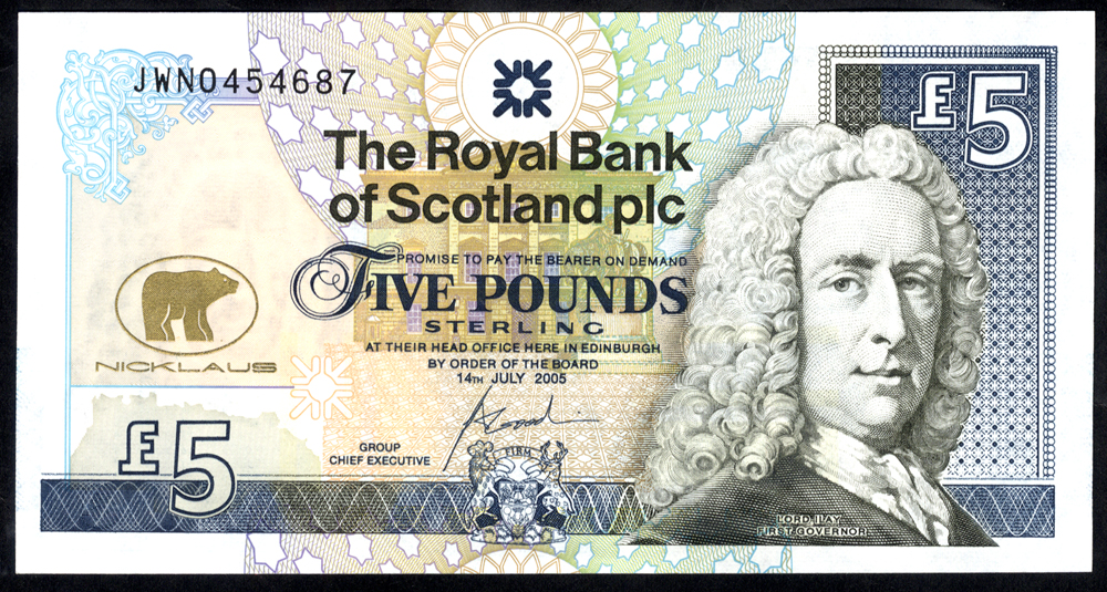 Royal Bank of Scotland 2005  Goodwin £5 Jack Nicklaus (JWN0454687), UNC