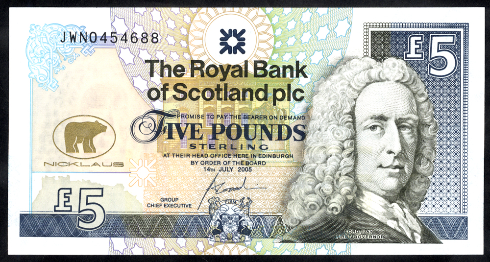 Royal Bank of Scotland 2005  Goodwin £5 Jack Nicklaus (JWN0454688), UNC