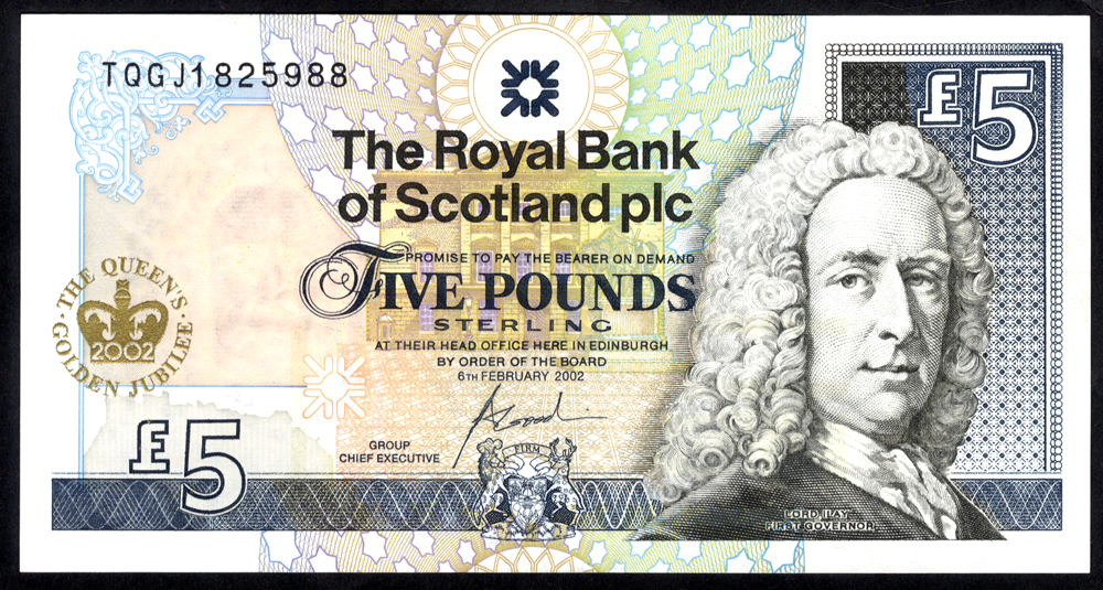 Royal Bank of Scotland 2002  Goodwin £5 Queen's Golden Jubilee (TQGJ1825988), EF