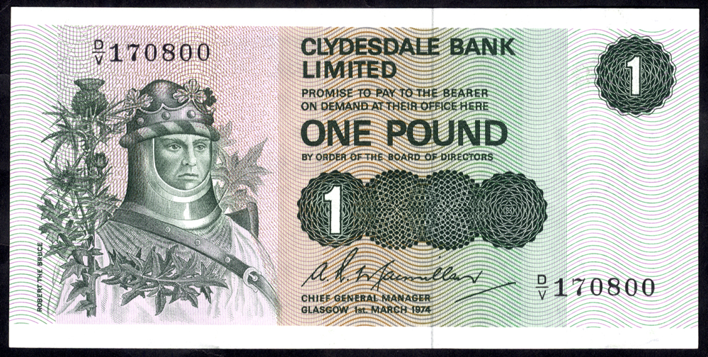 Clydesdale Bank Ltd 1974 A. R Macmillan £1 Robert the Bruce (D/V 170800), A/UNC