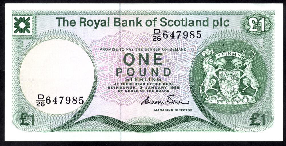 Royal Bank of Scotland 1985 C. R. Winter £1 (D/26 647985), A/UNC