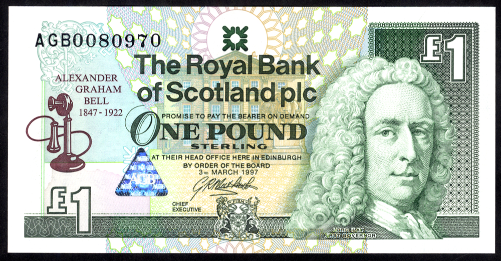 Royal Bank of Scotland 1997 G. R. Mathewson £5 Alexander Bell (AGB0080970), UNC