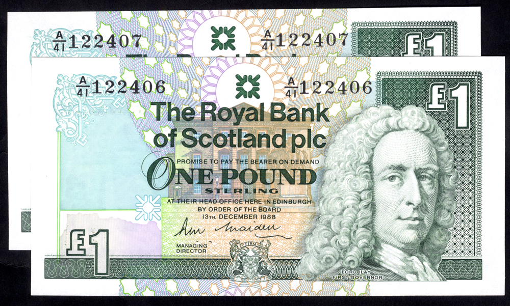 Royal Bank of Scotland 1988 R. M. Maiden £1 Lord Ilay consecutive pair (A/41 122406/7), UNC